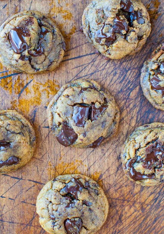 Peanut Butter Chocolate Chunk Cookies. No butter. No flour. Just goodness.