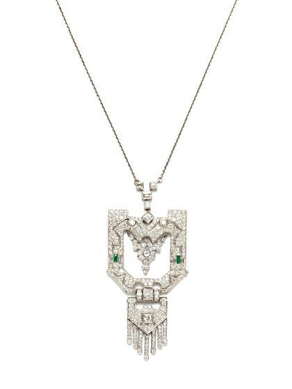 Art Deco Diamond & Emerald Geometric Pendant Necklace