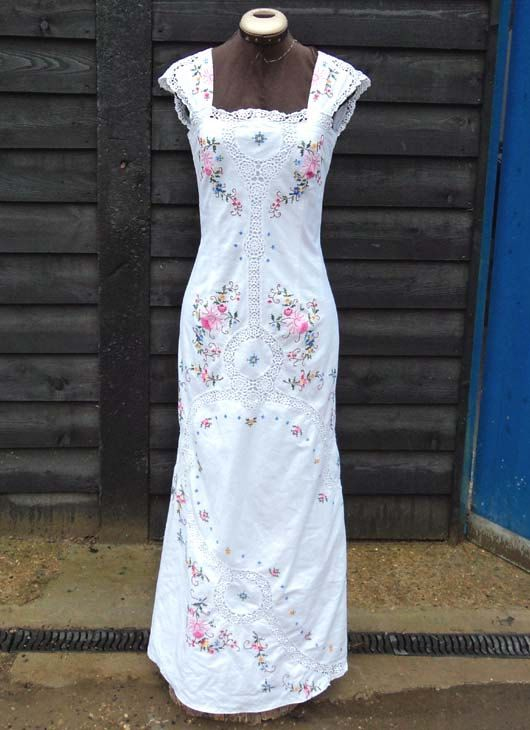 Cant decide if i like this or if it looks like tablecloth.                                      Spring Blossom Country Wedding Dress by sowsearstudio1 on Etsy, £330.00