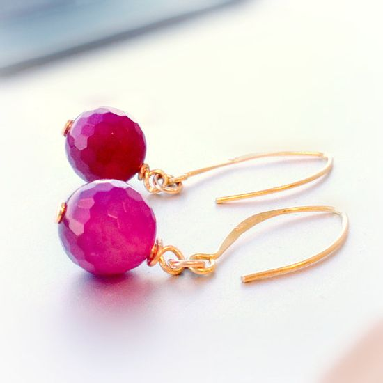 Fuschia Earrings Gold Jewelry Hot Pink by jewelrybycarmal on Etsy, $18.00