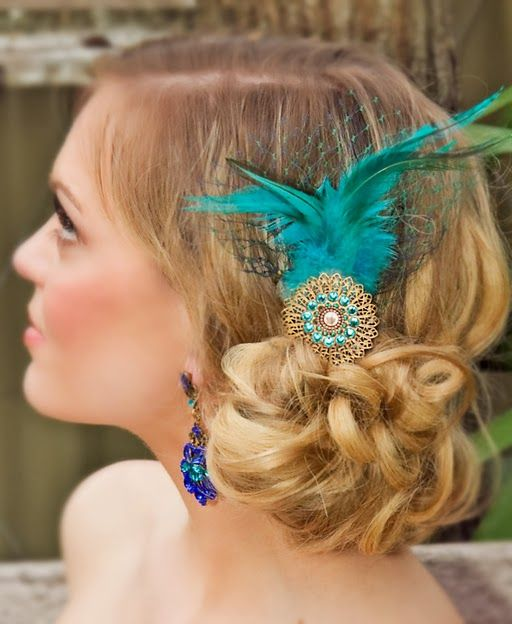 Teal Peacock feather hair accessory