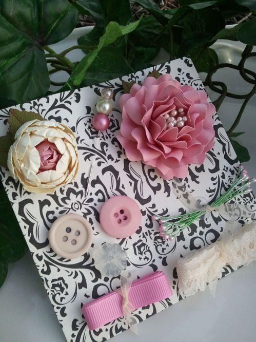 Handmade Paper Flowers - Embellishment Set - Pink