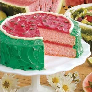 Watermelon Cake ~ No one will ever guess how simple this make-ahead melon is to assemble. After one bite of the showstopping cake, kids of all ages will be lining up for a second slice of the sweet sensation.