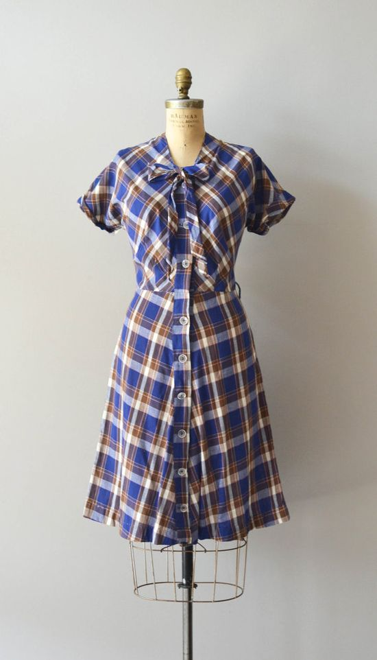 plaid 1950s dress / vintage 50s dress / Sorbonne Plaid dress
