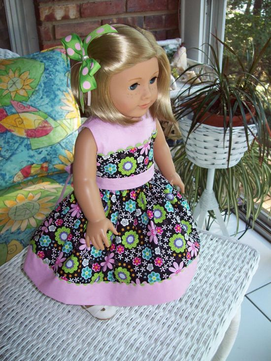 American Girl doll or 18 inch doll dress and hair clip.  Floral print with pink contrast.
