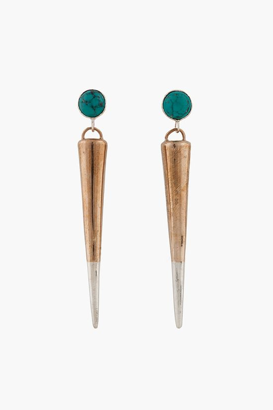PAMELA LOVE //  BRONZE AND TURQUOISE SPIKE DROP EARRING