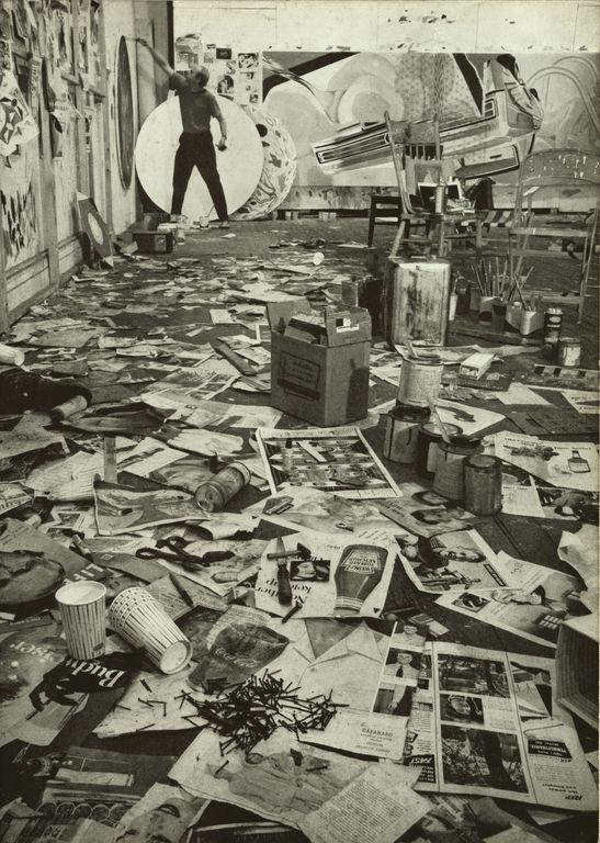 James Rosenquist painting in his studio, 1967