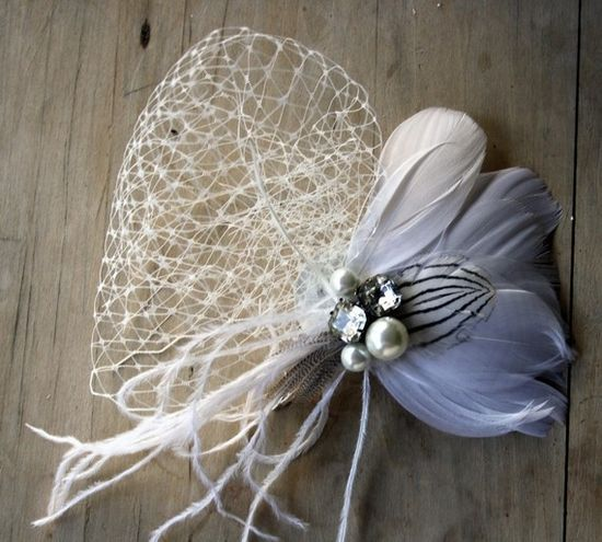 MILLA Bridal Fascinator by PompAndPlumage on Etsy, $72.00