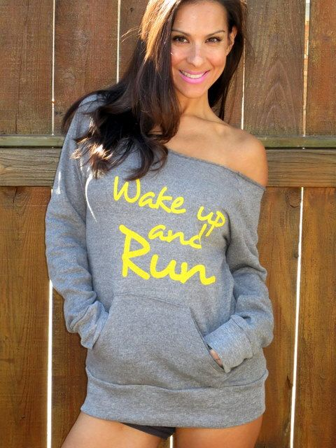 Wake Up and RUN Off the Shoulder Girly by FiredaughterClothing, $38.00