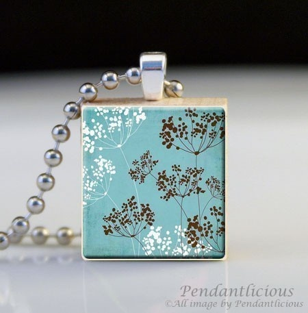 "Scrabble Tile Art Pendant ""WHITE AND BROWN DANDELIONS"" $7"