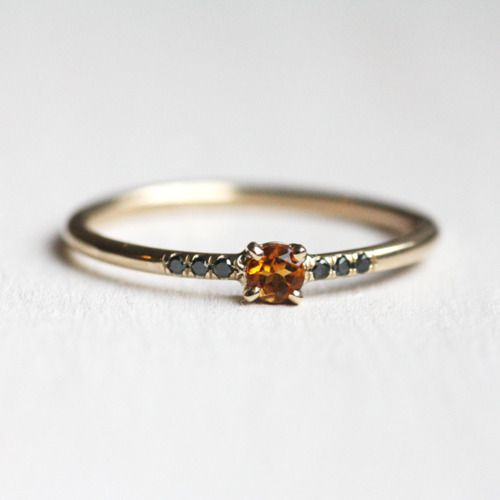 Yellow Topaz and Black Diamond 14K Gold Ring