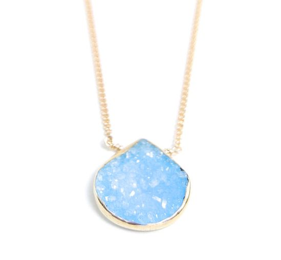 Hokulani necklace  sky blue gold druzy necklace by kealohajewelry