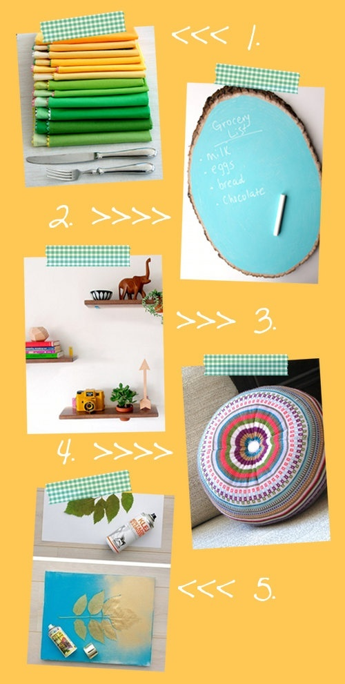 Colorful handmade home accessories and diy decorating ideas for spring