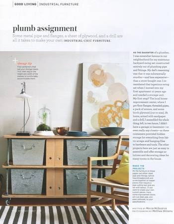 shelving from pipe/fittings and plywood - Martha Stewart Living