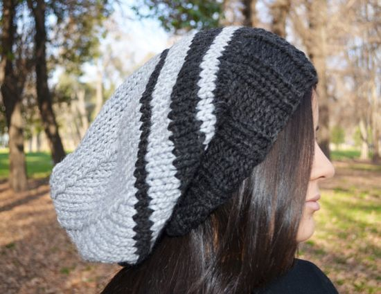 Slouchy beanie hat - BLACK & PEARL GREY - womens teen girls - accessories - Wool Woolen - slouch - Christmas gift - vegan friendly on Etsy, $35.00