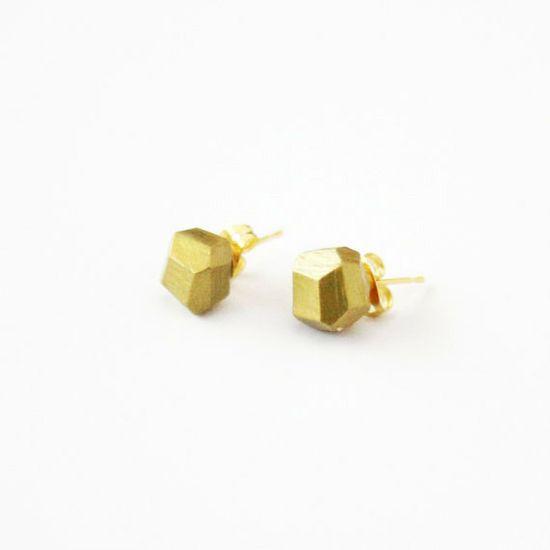 gold geo earrings by a.m.m. jewelry