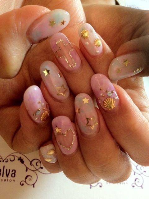 Nail Designs #nail #unhas #unha #nails #unhasdecoradas #nailart #gorgeous #fashion #stylish #lindo #cool #cute #fofo #cruz #cross #coracao #heart #estrela #star???