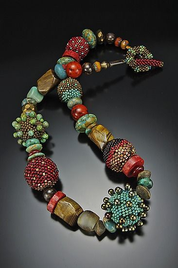 """""""Carnelian Turquoise Bronze Necklace""""  Beaded Necklace    Created by Julie Powell    Love the textures and colors!  Hummm I feel ideas bubbling already!"""