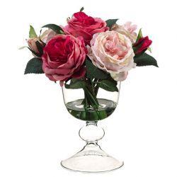 "11"" Rose Silk Flower Arrangement -2 Tone Pink"