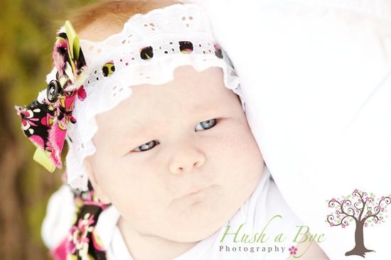 Sweet Pink-Green-Black Floral Eyelet Lace baby headband and anklet set...Newborn headband, newborn anklet, photo prop...baby anklet. $20.00, via Etsy.  www.HushaByeCreat...  San Diego Photography by:  Hush a Bye Photography  www.HushaByePhoto...