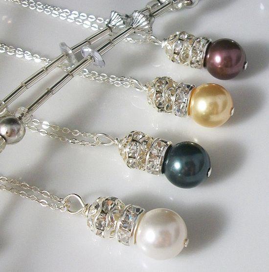 Swarovski Pearl Rhinestone Ball Necklace