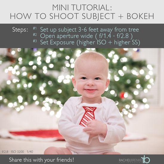 How to Shoot Kids + Christmas Tree Bokeh Lights  #photography
