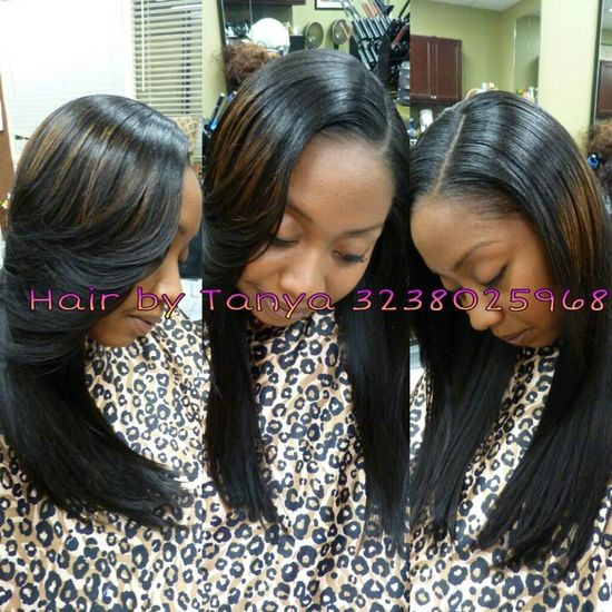 Partial sewed in weave