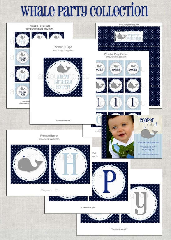 Printable Whale Birthday Party Collection  DIY by announcing you