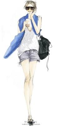 Street style, fashion illustration