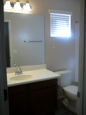 SPACE BEFORE at my RENTAL RESTYLE: Small Bath Space Decor + Awkward Window Challenge via @FocalPoint