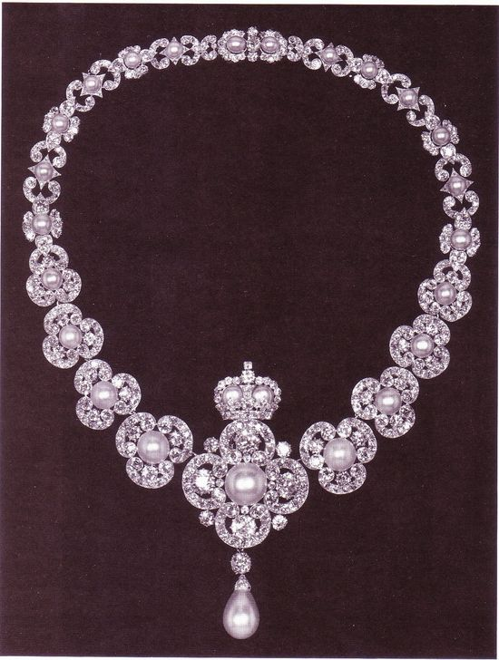 """Queen Victoria's Golden Jubilee Neckalce. In 1887, the """"Women of the British Empire"""" each gave between a penny and a pound to provide a celebratory memorial for the Queen's fifty years on the throne. Part of the money raised was used to commission a large equestrian statue of Prince Albert but the rest of the money was spent on this necklace, which was presented Queen Victoria on June 24, 1887."""