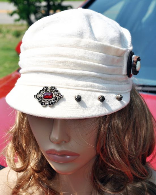Women's Summer CapWhite Newsboy CapFront by GinasCornerCrafts, $30.00