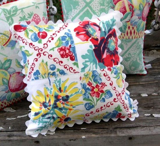 Vintage linens patchwork cottage pillows.