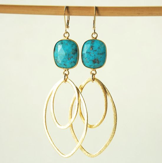 Hinuhinu earrings gold turquoise earrings by kealohajewelry