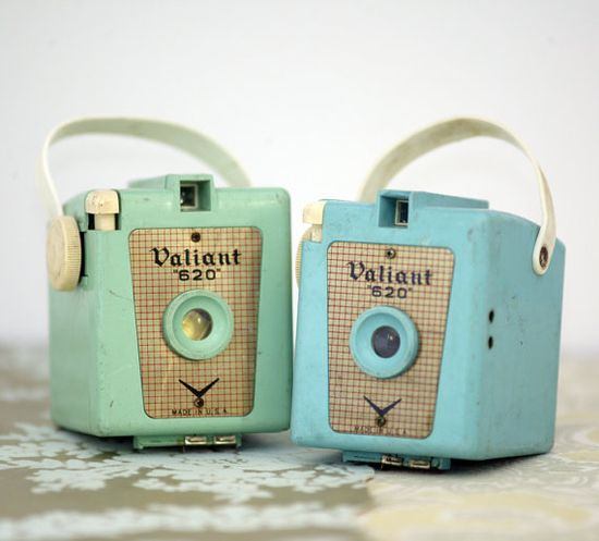 vintage candy color cameras