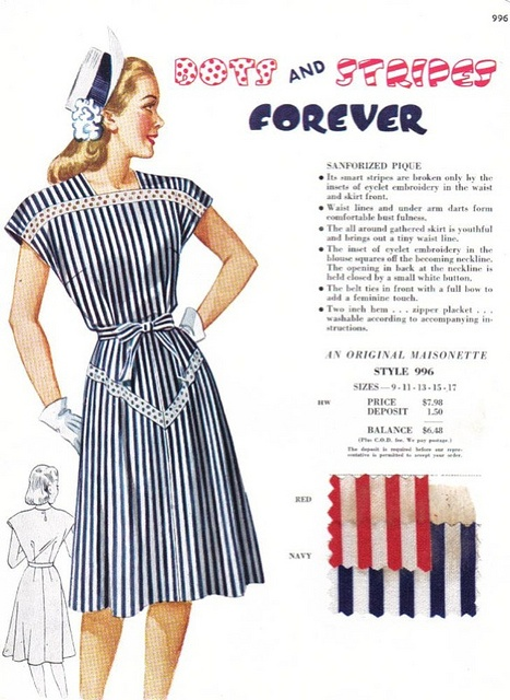 A charming Maisonette salesman's sample featuring polka dots and stripes, circa 1949. #vintage #1940s #fashion #dress