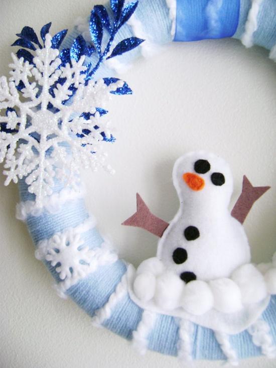 Snowman+Felt+and+Yarn+Wreath++Winter+Wonderland++by+RedMarionette,+$50.00