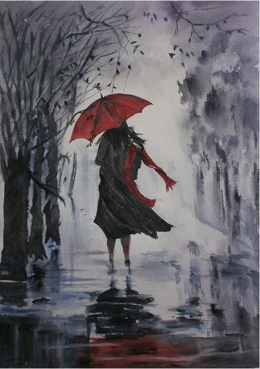le parapluie rouge -