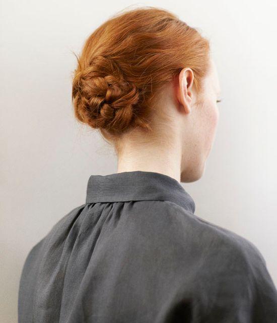 red braided chignon