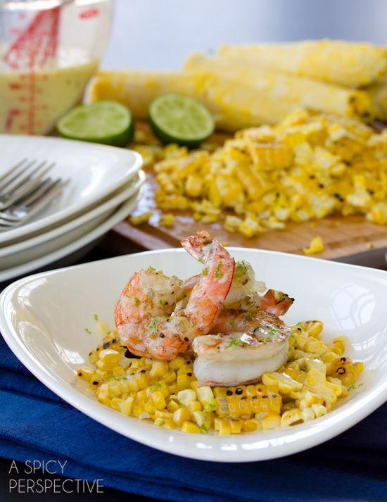 Grilled Shrimp and Grilled Corn on the Cob #corn #shrimp #healthyrecipe
