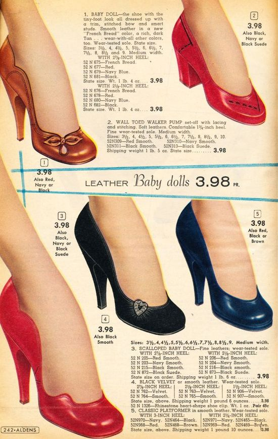 I want the two styles on the far left. ;) Gorgeous! 1956-57 shoes. #1950s #shoes #vintage