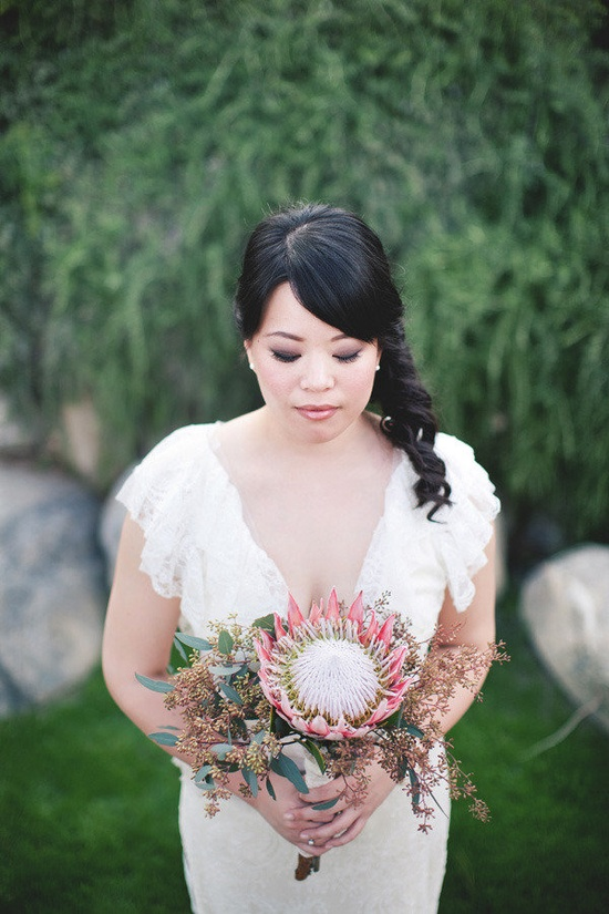 Protea bouquet by Palm Springs Florist, Photography by katieosgood.com and eelekim.com