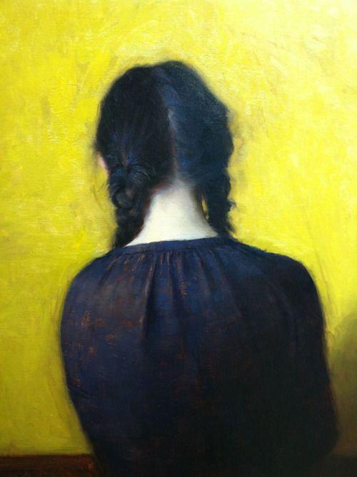 """Jeremy Lipking, """"Braids,"""" Oil on Linen  [The nape of a neck...]"""