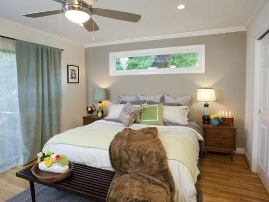 Property Brothers: Neutral color scheme in bedroom.