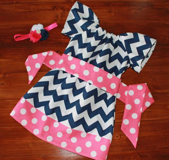 Girls Peasant Dress in Navy Blue Chevron and Candy Pink Polka Dot  - Available in Sizes 3M - 8