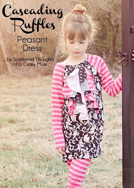 Scattered Thoughts of a Crafty Mom: Cascading Ruffles Peasant Dress