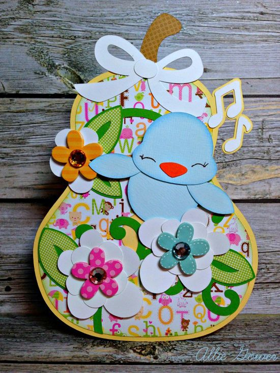 SPRING BIRDHOUSES SVG KIT has the cutest 3d Birdhouses, including this one made by Allie!  The gift bag is for a baby who has a garden-themed nursery!  How adorable is that!  Fill it with a gift card or a small gift and the happy parents will treasure it for years to come!
