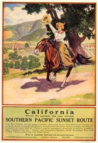Vintage California COWGIRL quarter horse Western Mini POSTER ART