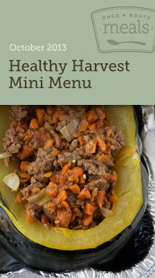 Healthy Harvest October 2013 Mini Freezer Menu- Stock your freezer, not your waistline, with these 10 Healthy Fall inspired entrees. Includes grocery lists, recipe cards, cooking day instructions, printable labels and more! #freezercooking #mealplanning #healthy
