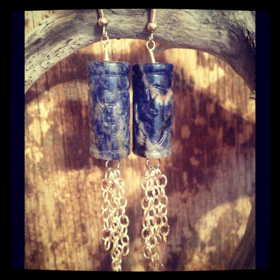 carved sodalite earrings